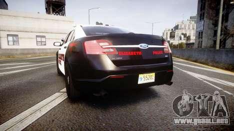 Ford Taurus 2010 Elizabeth Police [ELS] para GTA 4 Vista posterior izquierda
