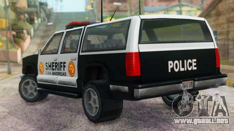Police 4-door Yosemite para GTA San Andreas left