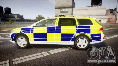 Volkswagen Passat B7 North West Police [ELS] para GTA 4 left