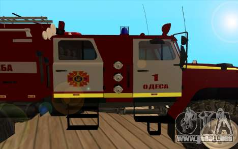 Ural 5557-40 el Ministerio de situaciones de eme para GTA San Andreas vista posterior izquierda