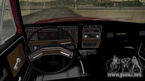 Ford F-150 Ranger 1984 para visión interna GTA San Andreas