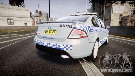 Ford Falcon FG XR6 Turbo Police [ELS] para GTA 4 Vista posterior izquierda