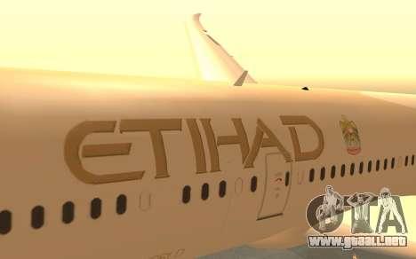 Boeing 787-9 Etihad Airways para la visión correcta GTA San Andreas