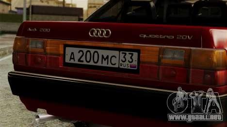 Audi 200 Quattro para GTA San Andreas vista hacia atrás