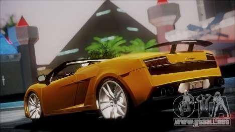 Lamborghini Gallardo LP570-4 Spyder 2012 para GTA San Andreas vista posterior izquierda