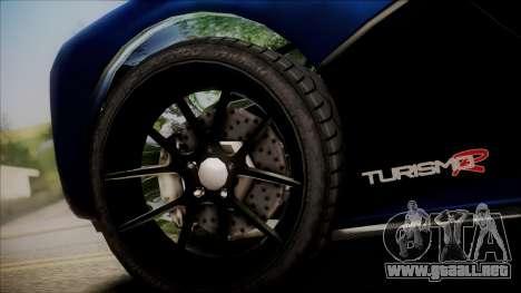 GTA 5 Grotti Turismo R SA Style para GTA San Andreas vista posterior izquierda
