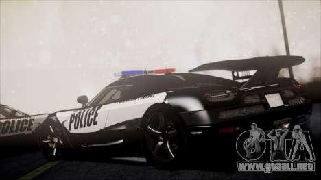 NFS Rivals Koenigsegg Agera R para GTA San Andreas vista posterior izquierda