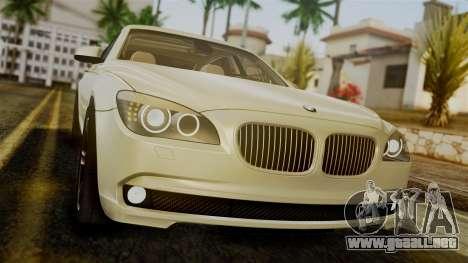 BMW 7 Series F02 2012 para GTA San Andreas vista hacia atrás