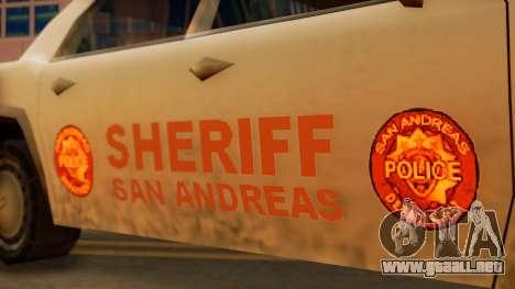 4-door Police Esperanto para GTA San Andreas vista posterior izquierda