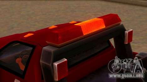 Premier Towtruck para GTA San Andreas vista hacia atrás