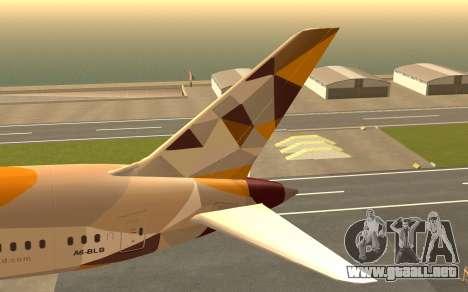Boeing 787-9 Etihad Airways para GTA San Andreas vista posterior izquierda