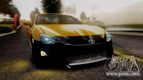 Toyota GT86 PJ para visión interna GTA San Andreas