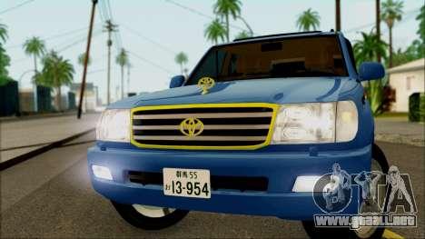 Toyota Land Cruiser 100 UAE Edition para GTA San Andreas vista posterior izquierda