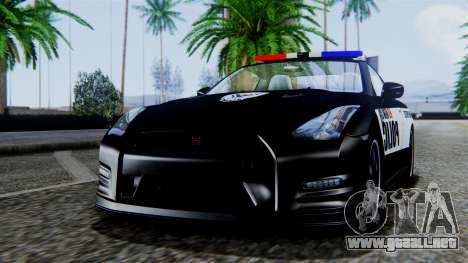 NFS Rivals Nissan GT-R R35 para GTA San Andreas vista posterior izquierda
