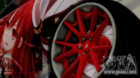 Lexus GS350 Stance Itsuka Kotori para GTA San Andreas vista posterior izquierda