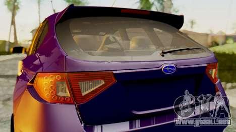 Subaru Impreza WRX STI 2008 para GTA San Andreas vista posterior izquierda