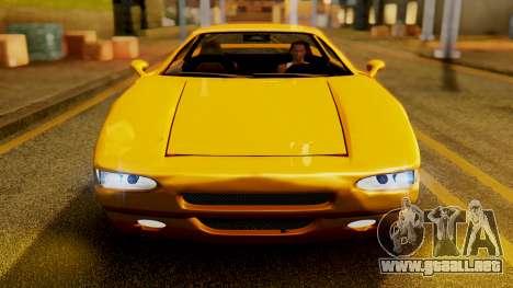 HD Infernus para GTA San Andreas vista hacia atrás