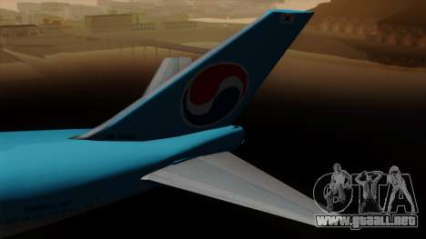 Boeing 747 Korean Air para GTA San Andreas vista posterior izquierda