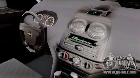 Chevrolet Aveo Taxi Poza Rica para la visión correcta GTA San Andreas