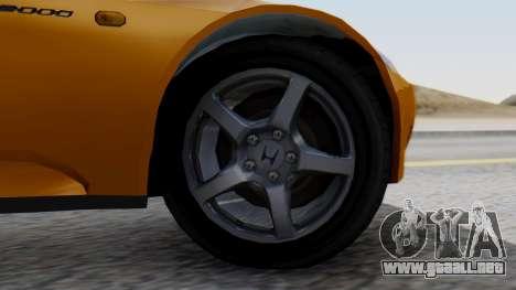 Honda S2000 Fast and Furious para GTA San Andreas vista posterior izquierda