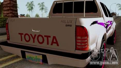 Toyota Hilux 2014 para GTA San Andreas vista hacia atrás