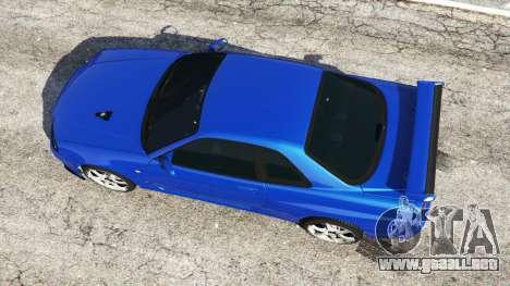 GTA 5 Nissan Skyline R34 GT-R v0.1 vista trasera