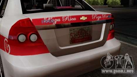 Chevrolet Aveo Taxi Poza Rica para GTA San Andreas vista hacia atrás