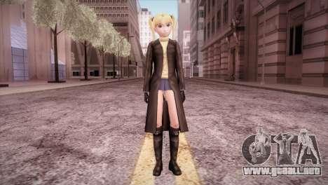 Leather Coat Short Skirt Ani para GTA San Andreas segunda pantalla