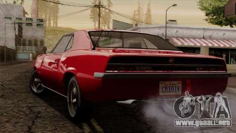 GTA 5 Declasse Vigero IVF para GTA San Andreas vista posterior izquierda