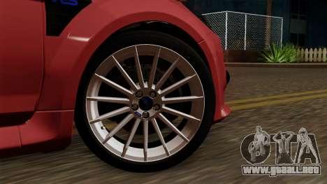 Ford Focus RS para GTA San Andreas vista posterior izquierda