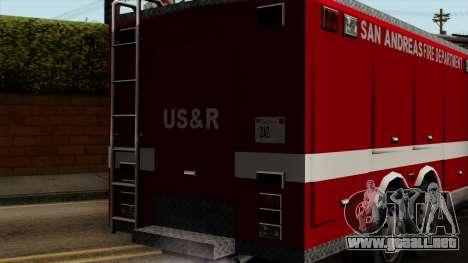 FDSA Urban Search & Rescue Truck para GTA San Andreas vista hacia atrás
