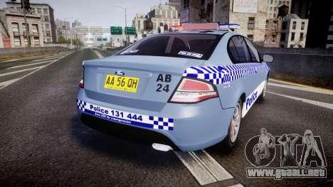 Ford Falcon FG XR6 Turbo NSW Police [ELS] v2.0 para GTA 4 Vista posterior izquierda