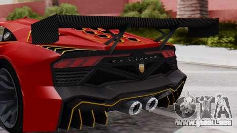 Pegassi Zentorno SM GT3 para GTA San Andreas vista hacia atrás
