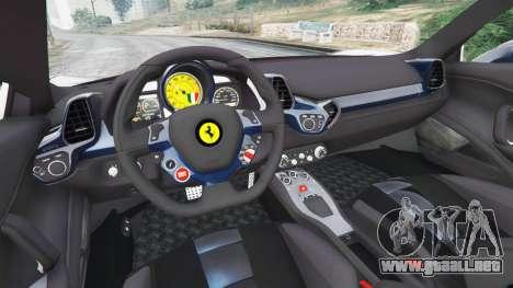 GTA 5 Ferrari 458 Italia v1.0.5 vista lateral trasera derecha