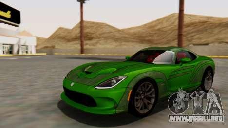 Dodge Viper SRT GTS 2013 HQLM (MQ PJ) para GTA San Andreas vista hacia atrás