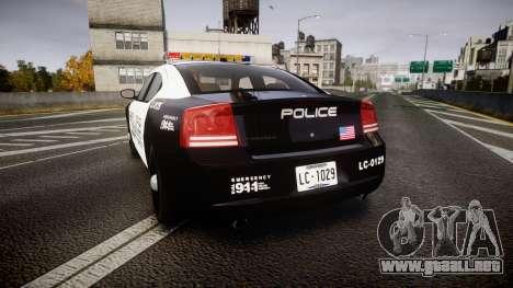 Dodge Charger Police Liberty City [ELS] para GTA 4 Vista posterior izquierda