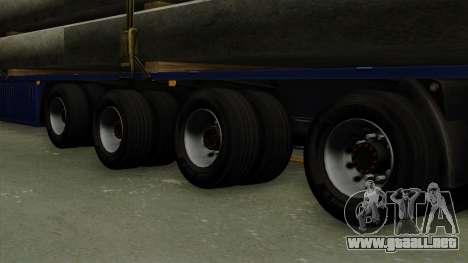Flatbed3 Blue para GTA San Andreas vista posterior izquierda