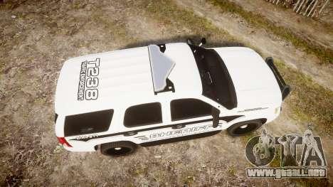 Chevrolet Tahoe 2013 New Alderney Sheriff [ELS] para GTA 4 visión correcta