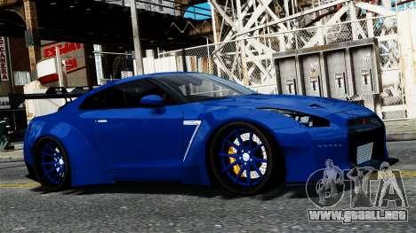 Nissan GT-R R35 Liberty Walk para GTA 4 vista hacia atrás