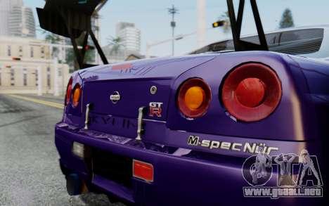Nissan Skyline GT-R R34 Battle Machine para GTA San Andreas vista posterior izquierda