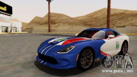 Dodge Viper SRT GTS 2013 HQLM (MQ PJ) para visión interna GTA San Andreas