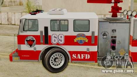 MTL SAFD Firetruck para GTA San Andreas vista posterior izquierda