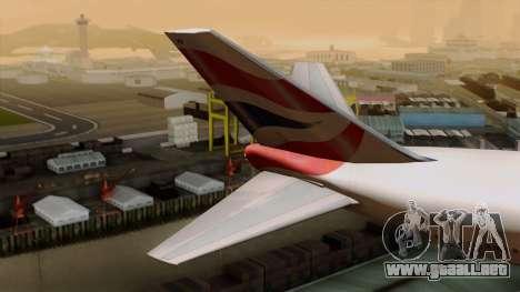 Boeing 747 British para GTA San Andreas vista posterior izquierda