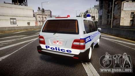 Toyota Land Cruiser 100 2005 Police [ELS] para GTA 4 Vista posterior izquierda