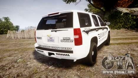 Chevrolet Tahoe 2013 New Alderney Sheriff [ELS] para GTA 4 Vista posterior izquierda