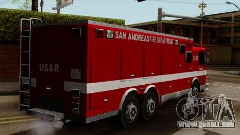 FDSA Urban Search & Rescue Truck para GTA San Andreas left