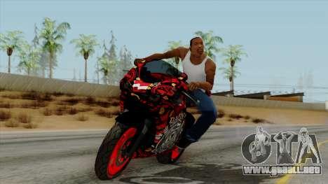 Bati Batik Motorcycle v2 para GTA San Andreas vista posterior izquierda