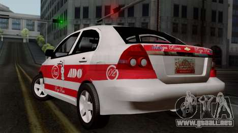 Chevrolet Aveo Taxi Poza Rica para GTA San Andreas left