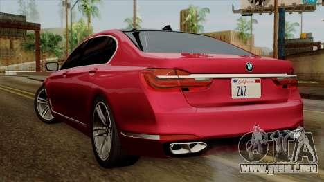BMW 7 2015 para GTA San Andreas left