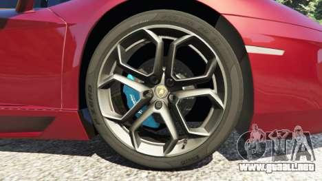 GTA 5 Lamborghini Aventador LP700-4 v0.2 vista lateral trasera derecha